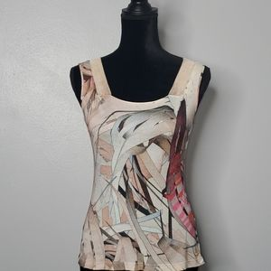 ESCADA rare knit taupe abstract print tank